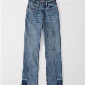 A&f patchwork 2 tone denim straight jeans